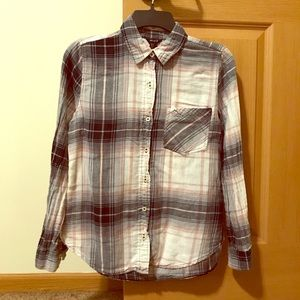 Forever 21 Grey/Pink/White Plaid Button-Down